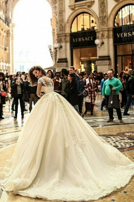 Luxury Lace Ball Gown Wedding Dresses   Scoop Long Sleeves Puffy Bridal Gowns_2