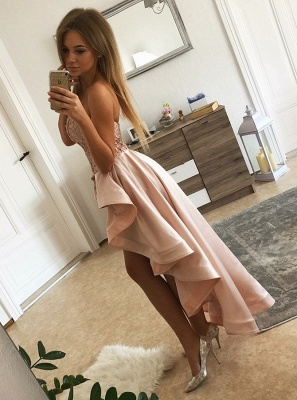 Chic Pink Lace Sheath Homecoming Dresses | Sweetheart Over-Skirt Short Cocktail Dresses_2