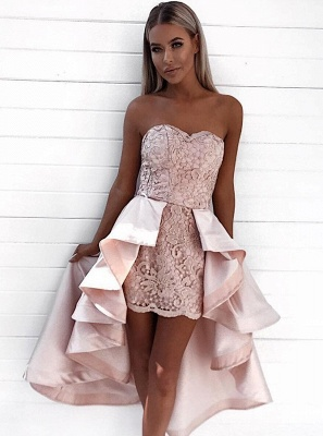 Chic Pink Lace Sheath Homecoming Dresses | Sweetheart Over-Skirt Short Cocktail Dresses_3