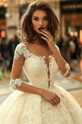 Luxury Lace Ball Gown Wedding Dresses   Scoop Long Sleeves Puffy Bridal Gowns_3