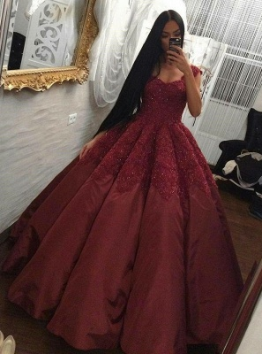 Luxury Burgundy Ball Gown Prom Dresses | Scoop Cap Sleeves Lace Appliques Long Evening Dresses_1