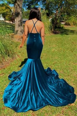 Dark Blue Velvet Deep V Neck Mermaid Straps Applique Backless Prom Dresses_2
