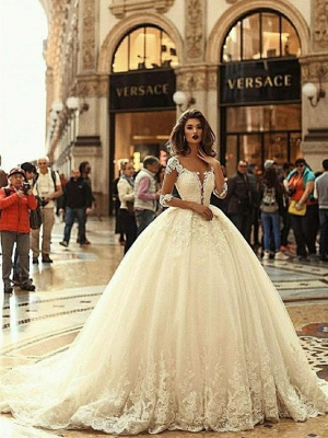 Luxury Lace Ball Gown Wedding Dresses   Scoop Long Sleeves Puffy Bridal Gowns_4