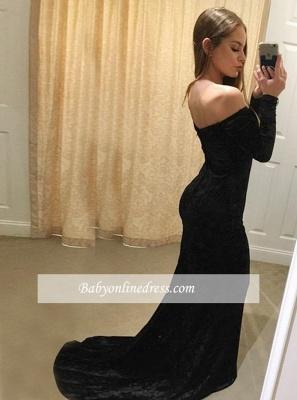 Simple Long-Sleeves  Off-The-Shoulder Prom Dresses | Mermaid Black Floor Length Evening Gowns_1