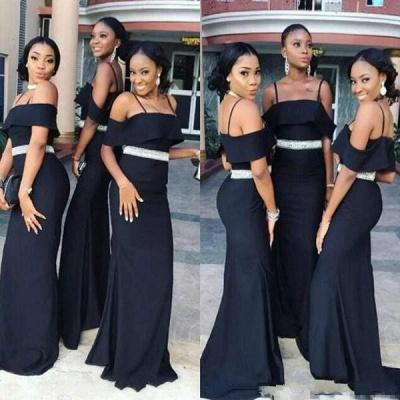 Chic Black Strapless Bridesmaid Dresses | Spaghettis Straps Beading Belt Wedding Party Dress_3