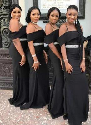 Chic Black Strapless Bridesmaid Dresses | Spaghettis Straps Beading Belt Wedding Party Dress_4