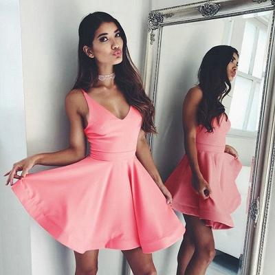 Chic Short A-Line Homecoming Dresses | Simple Spaghetti Straps Mini Cocktail Dresses_2