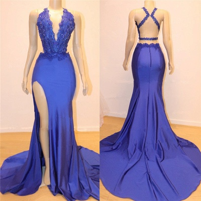 Elegant Royal Blue Mermaid Prom Dresses | V-Neck Open Back Evening Gowns_2