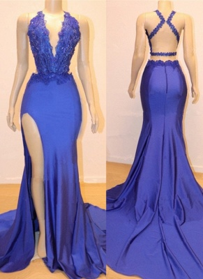 Elegant Royal Blue Mermaid Prom Dresses | V-Neck Open Back Evening Gowns_1