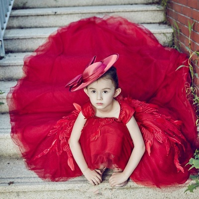 Vintage Red Hi-Lo Flower Girl Dresses   Scoop Beaded Appliques Puffy Kid's First Communion Dresses_4