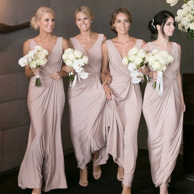 Cheap Ruched A-Line Bridesmaid Dresses | V-Neck Sleeveless Maid Of The Honor Dresses_2