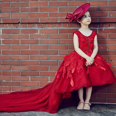 Vintage Red Hi-Lo Flower Girl Dresses   Scoop Beaded Appliques Puffy Kid's First Communion Dresses_2