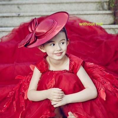 Vintage Red Hi-Lo Flower Girl Dresses   Scoop Beaded Appliques Puffy Kid's First Communion Dresses_6