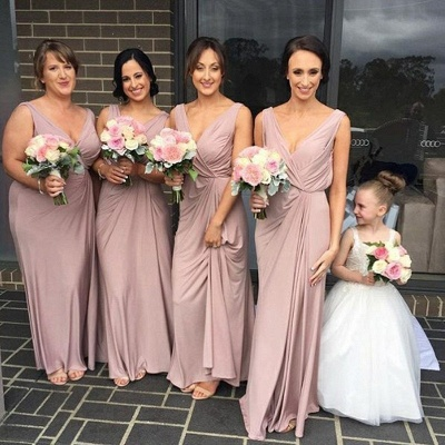 Cheap Ruched A-Line Bridesmaid Dresses | V-Neck Sleeveless Maid Of The Honor Dresses_3