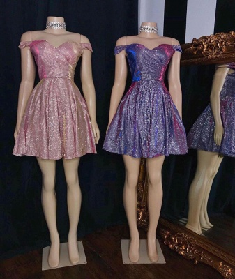 Glitter Sweetheart Off The Shoulder Short Sequined A Line Homecoming Dresses_2