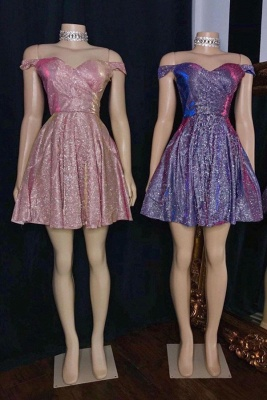 Glitter Sweetheart Off The Shoulder Short Sequined A Line Homecoming Dresses_1