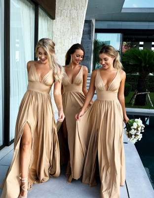 Simple Two Pieces Mermaid Bridesmaid Dresses   Halter Bows A-Line Maid Of The Honor Dresses_2