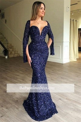 Shiny Sweetheart Long Sleeves Prom Dresses | Long Mermaid Beading 2021 Evening Gowns_1