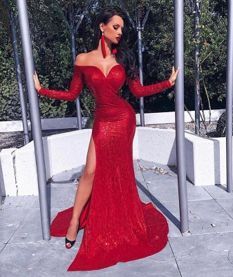 Sexy Red Sequins Mermaid Prom Dresses | Off The Shoulder Long Sleeves Slit Evening Dresses BC0602_2