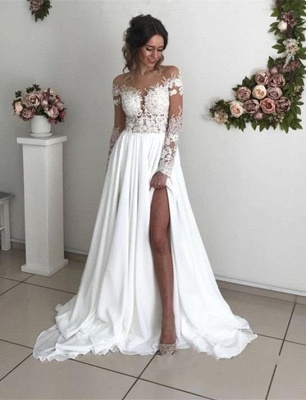 Exquisite Lace Chiffon A-Line Wedding Dresses | Sheer Neck Long Sleeves Long Bridesmaid Dresses_3