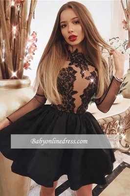 High-neck Lace Short Ball-gown Long-sleeve Homecoming Dresses_2