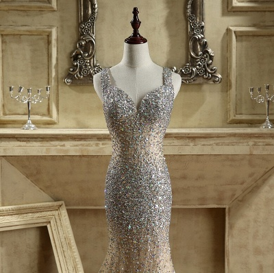 Luxury Crystals Mermaid Prom Dresses | Straps Open Back Evening Gowns_5