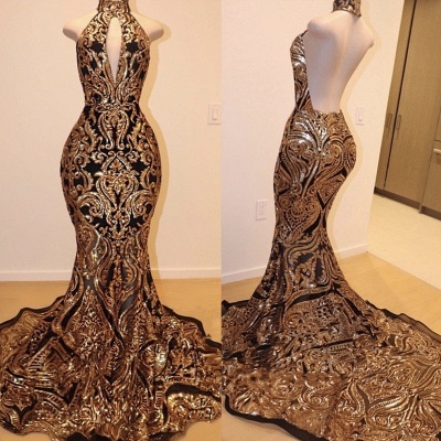 Luxury Black Gold Prom Dresses | High Keyhole Neckline Backless Evening Gowns_2