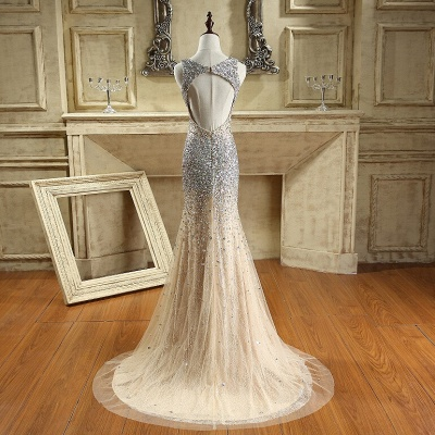 Luxury Crystals Mermaid Prom Dresses | Straps Open Back Evening Gowns_3