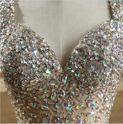 Luxury Crystals Mermaid Prom Dresses | Straps Open Back Evening Gowns_4