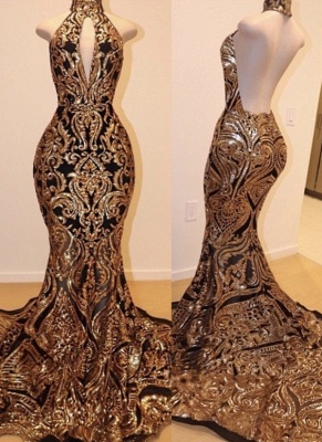 Luxury Black Gold Prom Dresses | High Keyhole Neckline Backless Evening Gowns_1