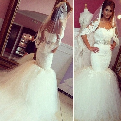 Timeless Sweetheart Lace Appliques Mermaid Wedding Dresses_3
