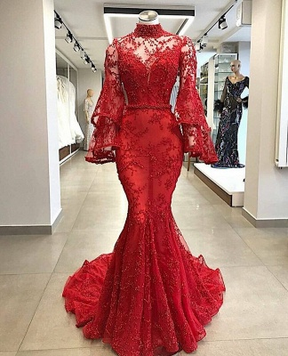Luxury Red Mermaid Prom Dresses | High Neck Trumpet Sleeve Beading Evening Dress_2