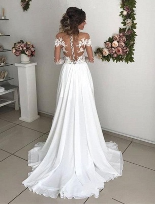 Exquisite Lace Chiffon A-Line Wedding Dresses | Sheer Neck Long Sleeves Long Bridesmaid Dresses_2