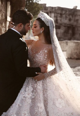 Luxury Beading Ball Gown Wedding Dresses | Sheer Neck Long Sleeves Floral Bridal Gowns WD0911_5
