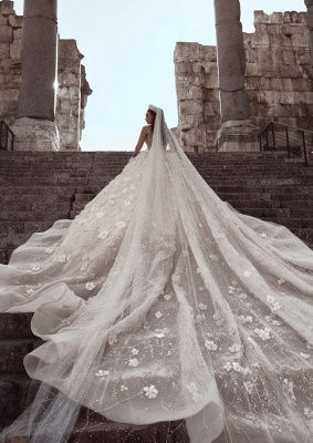 Luxury Beading Ball Gown Wedding Dresses | Sheer Neck Long Sleeves Floral Bridal Gowns WD0911_2