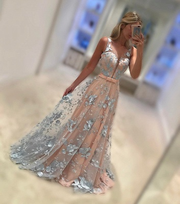 Elegant Lace A-Line Prom Dresses | Sleeveless Bows Long Evening Dresses BC1006_2