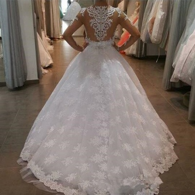 Delicate  White Lace Appliques Wedding Dress 2021 Long-Sleeve A-line Bridal Gowns_3