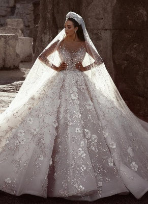 Luxury Beading Ball Gown Wedding Dresses | Sheer Neck Long Sleeves Floral Bridal Gowns WD0911_1