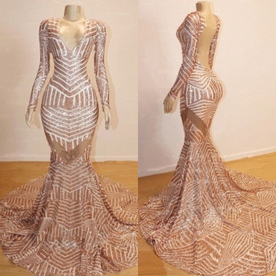 Sexy Champagne Mermaid Prom Dresses | Long Sleeves Sheer Evening Gowns_1