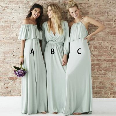 Cheap A-Line Bridesmaid Dresses | Simple Off-The-Shoulder Long Wedding Party Dresses_2