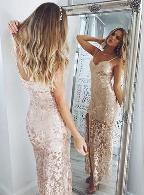 Sexy Sequins Mermaid Evening Dresses | Spaghetti Straps Side Slit Prom Dresses_2