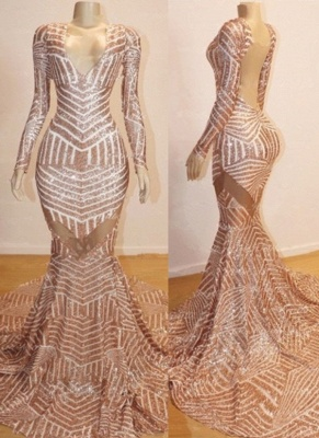 Sexy Champagne Mermaid Prom Dresses | Long Sleeves Sheer Evening Gowns_2