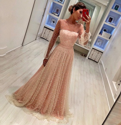 Luxury Crystals A-Line Prom Dresses | Scoop Long Sleeves Sheer Evening Dresses_2