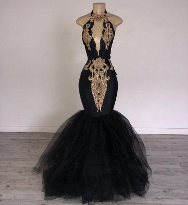 Sexy Black Mermaid Prom Dresses | Halter Keyhole Neckline Formal Dress bc0752_2