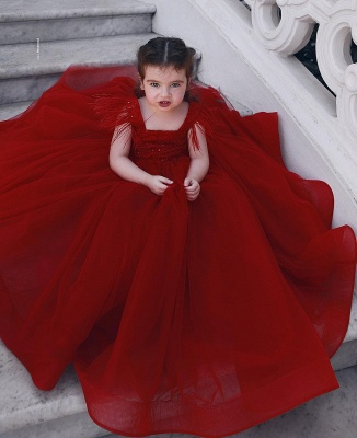 Cute Red Ball Gown Flower Girl Dresses | Scoop Cap Sleeves Kids Pageant Dresses_1