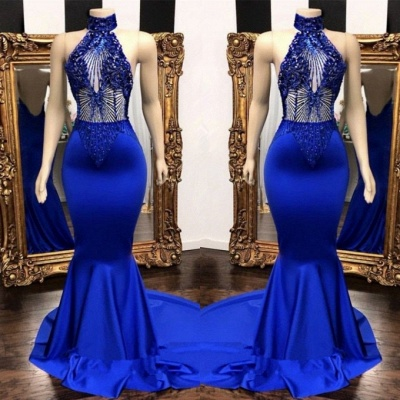 Sexy Royal Blue Prom Dresses | Halter Neck Backless Party Dresses_2