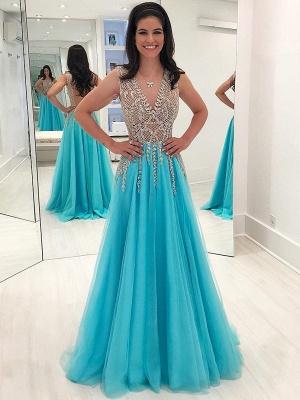 Sparkly Beading A-Line Prom Dresses | V-Neck Sleeveless Long Tulle Evening Dresses_1