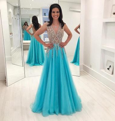 Sparkly Beading A-Line Prom Dresses | V-Neck Sleeveless Long Tulle Evening Dresses_2