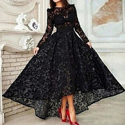 Vestido Black Hi-lo Long Sleeves Prom Dresses Sheer Lace Evening Gowns_2