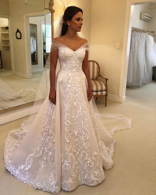 Elegant Off-the-Shoulder Wedding Dresses | Appliques A-line Bridal Gowns with Watteau Train_2